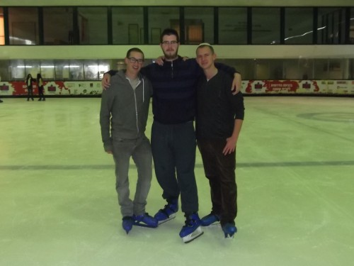 On the ice with my American friends