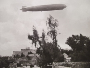 A zeppelin above the King Daviv Hotel, Jerusalem, 1929