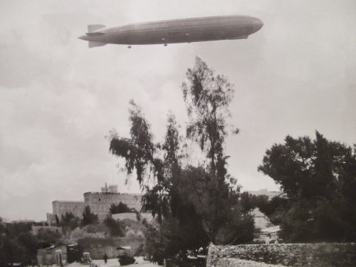 A zeppelin above the King Daviv Hotel, Jerusalem, 1929