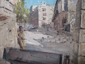 Great painting detailing a blockaded street in the 1940s