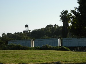 Guard tower and train