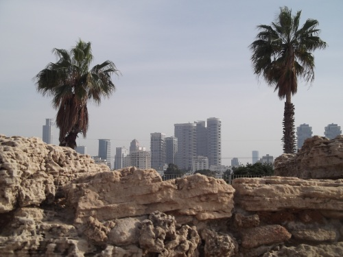 The new coming out of the old - Tel Qasile ruins and the towers of Tel Aviv
