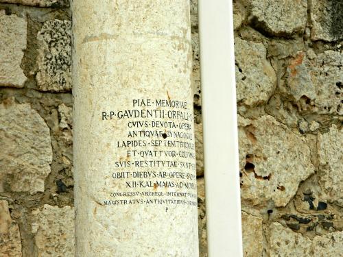Greek engraved into a pillar