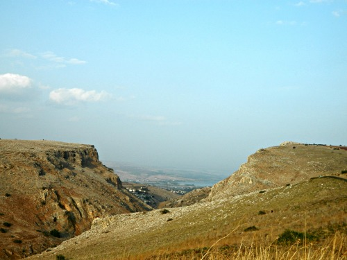 Mount Nitai on the left and Mount Arbel on the right