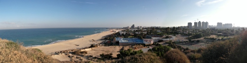 Panoramic view of the sea and modern Ashkelon