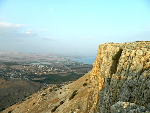 Sharp edge of Mount Arbel and the Kinneret down below