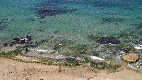 The coast where chunks of ruins still lay today
