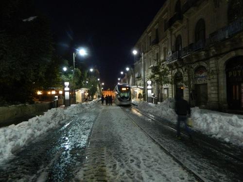 Jaffa Street and an idling light rail train