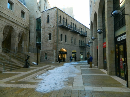 Mamilla Mall with some snow