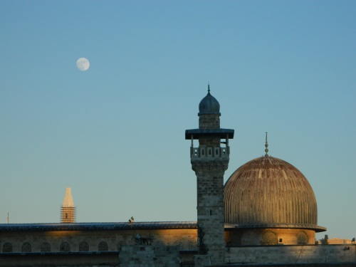 Moon over mosque