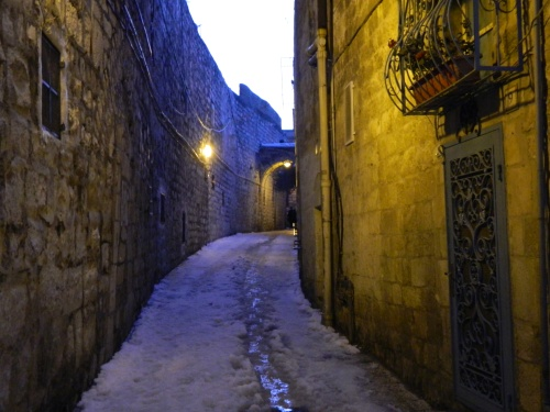 Narrow corridors at dusk