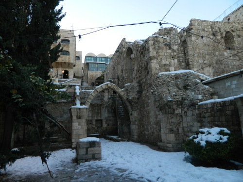 Snow-covered ruins in the Old City