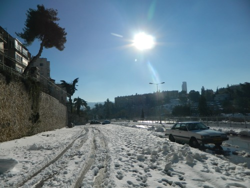 Snow in the residential areas