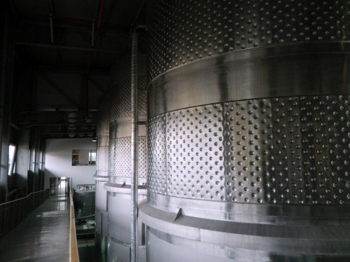 Huge stainless steel vats