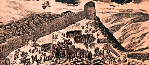 Depiction of the Roman siege on Gamla