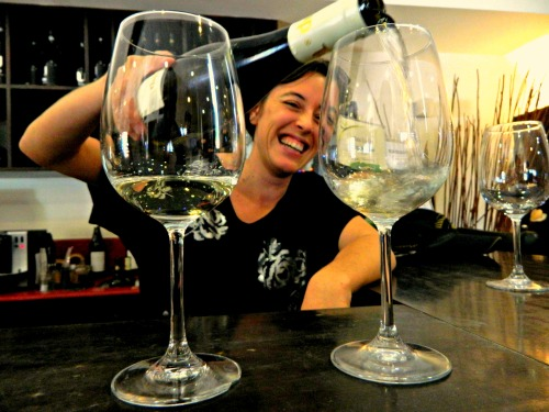Lital sharing some white wine