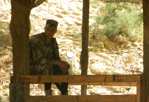 Jordanian corporal keeping watch on the border