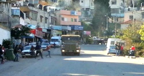 Driving the Safaron through a Palestinian village
