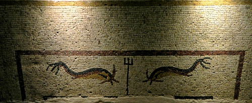 Mustachioed dolphins mosaic