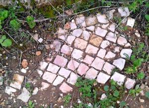 Close-up of a crude mosaic