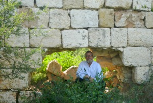 My father at the Manot ruins