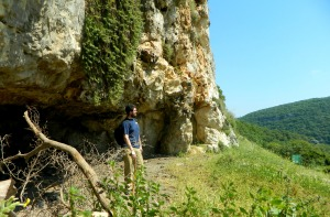 Standing outside the Temple Cave entrance