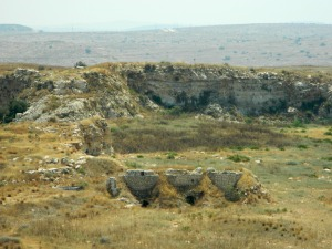 Old lime kilns with quarries in the background