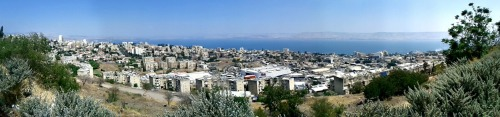 Looking down at Tiberias and the Kinneret