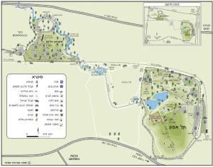 Map of Tel Afeq (Antipatris) and Yarkon National Park