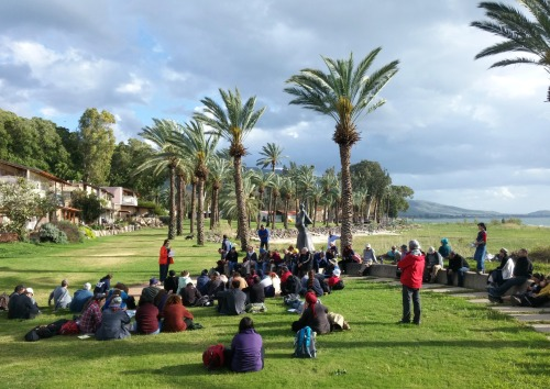 Lakefront lecture at Ein Gev