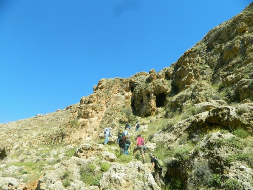 Approaching Namerim Cave from Wadi Auja