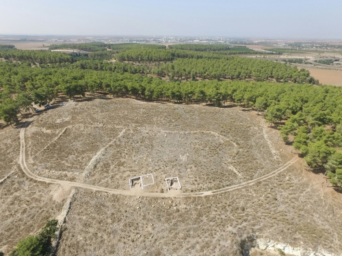 Aerial view of the dig site (photo Khirbet Arai Expedition)