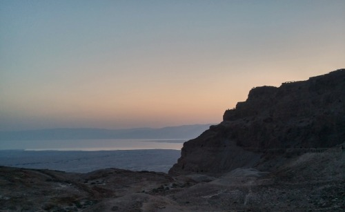Masada and the Dead Sea before dawn