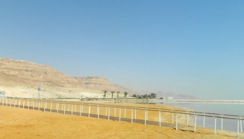 The touristy shore of the Dead Sea