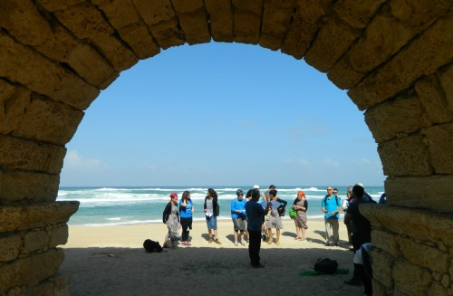 Caesarea's iconic aqueduct by the sea