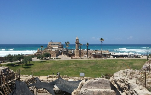 Crusader harbour from the higher Herodian port