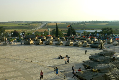 View of the exhibitions from atop the Tegart fort