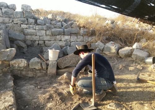 Nissim digging in his square