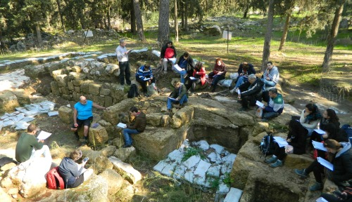 Reading from Victor Guérin at the ruins of the Byzantine monastery