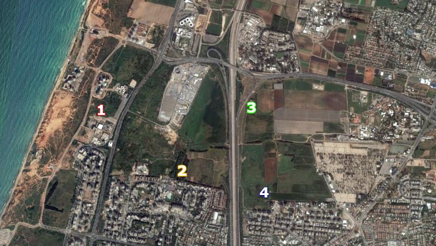 Map of the North Tel Aviv vernal pools