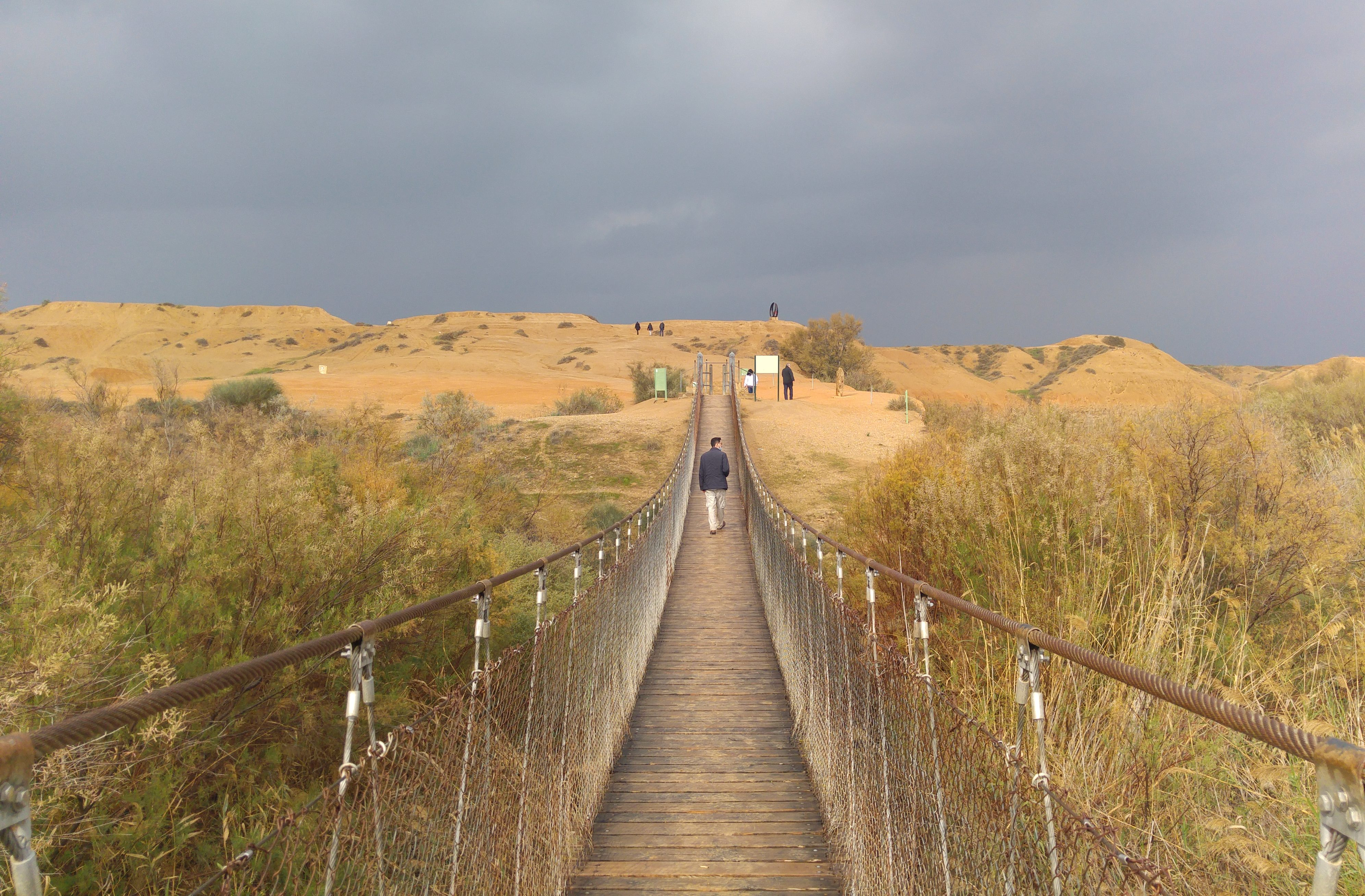 Crossing the hanging bridge over Nachal HaBesor