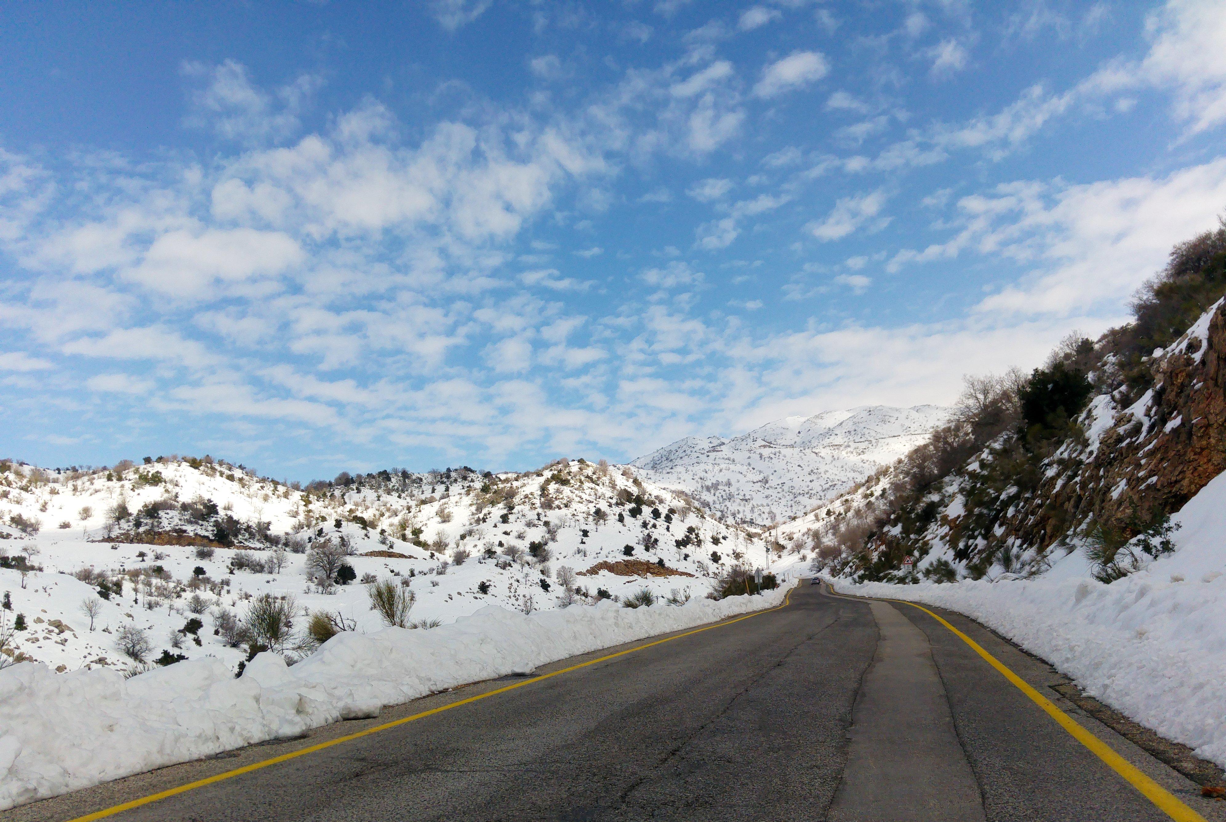 Approaching the snowy peak